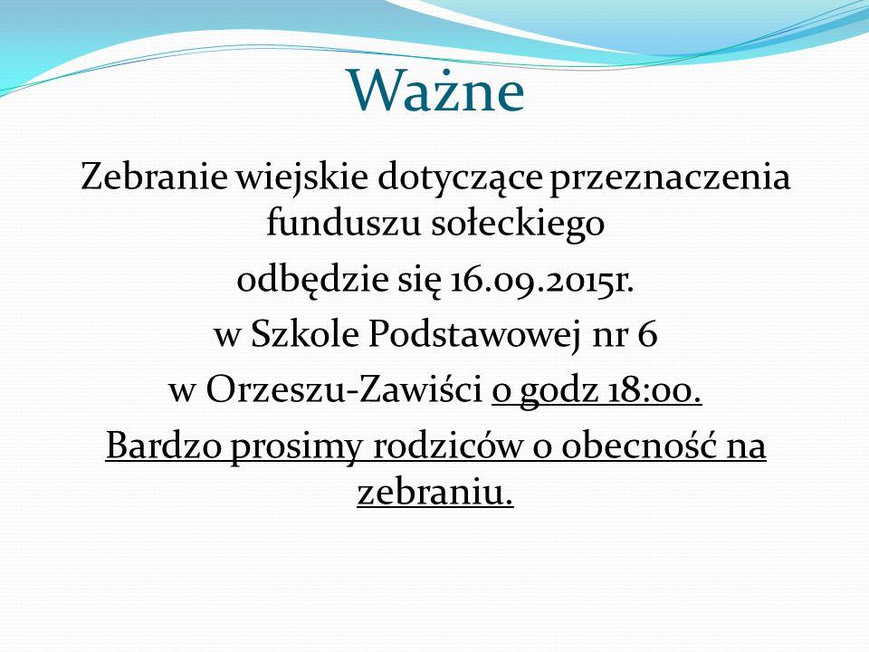 Ważne Zebranie wiejskie dotyczące przeznaczenia funduszu sołeckiego odbędzie się 16.09.2015r. w Szkole Podstawowej nr 6 w Orzeszu-Zawiści o godz 18:00