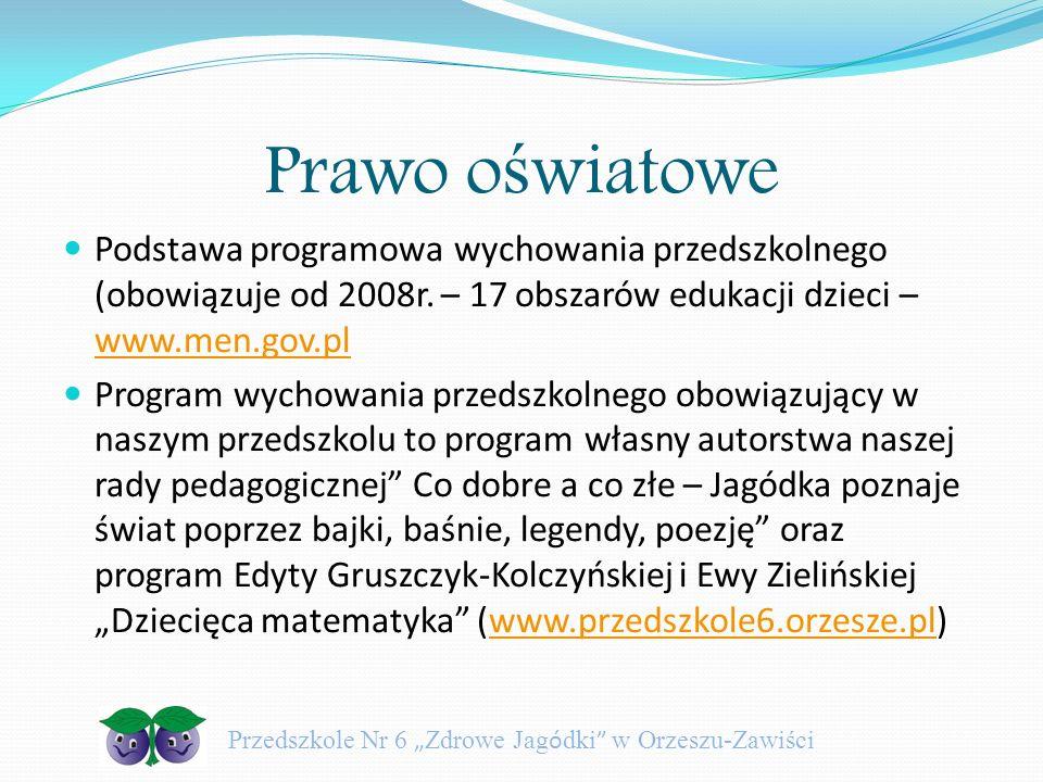 Prawo o ś wiatowe Podstawa programowa wychowania przedszkolnego (obowiązuje od 2008r. – 17 obszarów edukacji dzieci – www.men.gov.pl www.men.gov.pl Pr