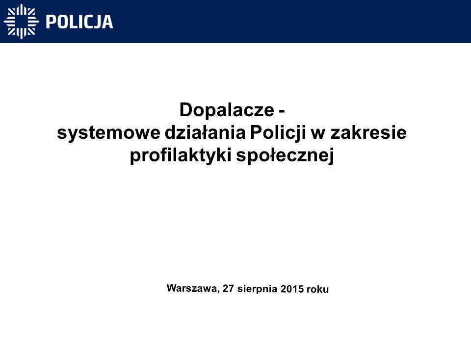 Dopalacze - systemowe działania Policji w zakresie profilaktyki społecznej Warszawa, 27 sierpnia 2015 roku