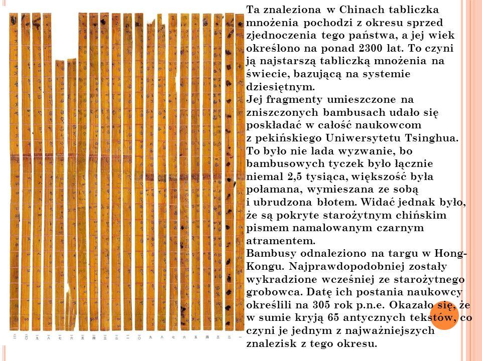 Ta znaleziona w Chinach tabliczka mnożenia pochodzi z okresu sprzed zjednoczenia tego państwa, a jej wiek określono na ponad 2300 lat.