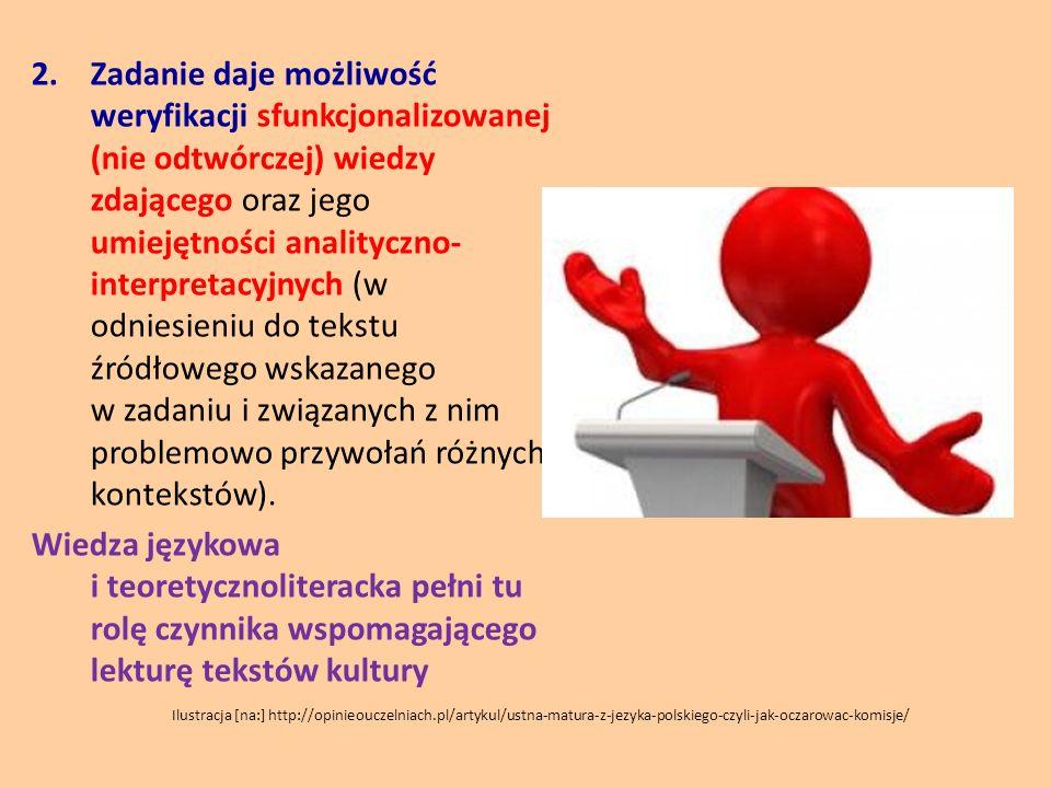 2.Zadanie daje możliwość weryfikacji sfunkcjonalizowanej (nie odtwórczej) wiedzy zdającego oraz jego umiejętności analityczno- interpretacyjnych (w od
