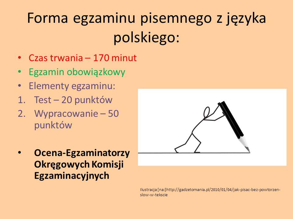 Forma egzaminu pisemnego z języka polskiego: Czas trwania – 170 minut Egzamin obowiązkowy Elementy egzaminu: 1.Test – 20 punktów 2.Wypracowanie – 50 p