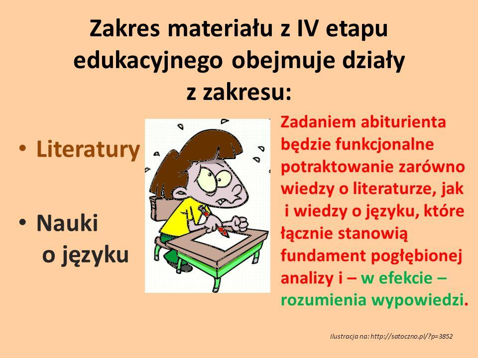 Zakres materiału z IV etapu edukacyjnego obejmuje działy z zakresu: Literatury Nauki o języku Zadaniem abiturienta będzie funkcjonalne potraktowanie z