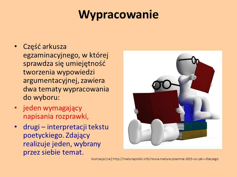 Wypracowanie Część arkusza egzaminacyjnego, w której sprawdza się umiejętność tworzenia wypowiedzi argumentacyjnej, zawiera dwa tematy wypracowania do