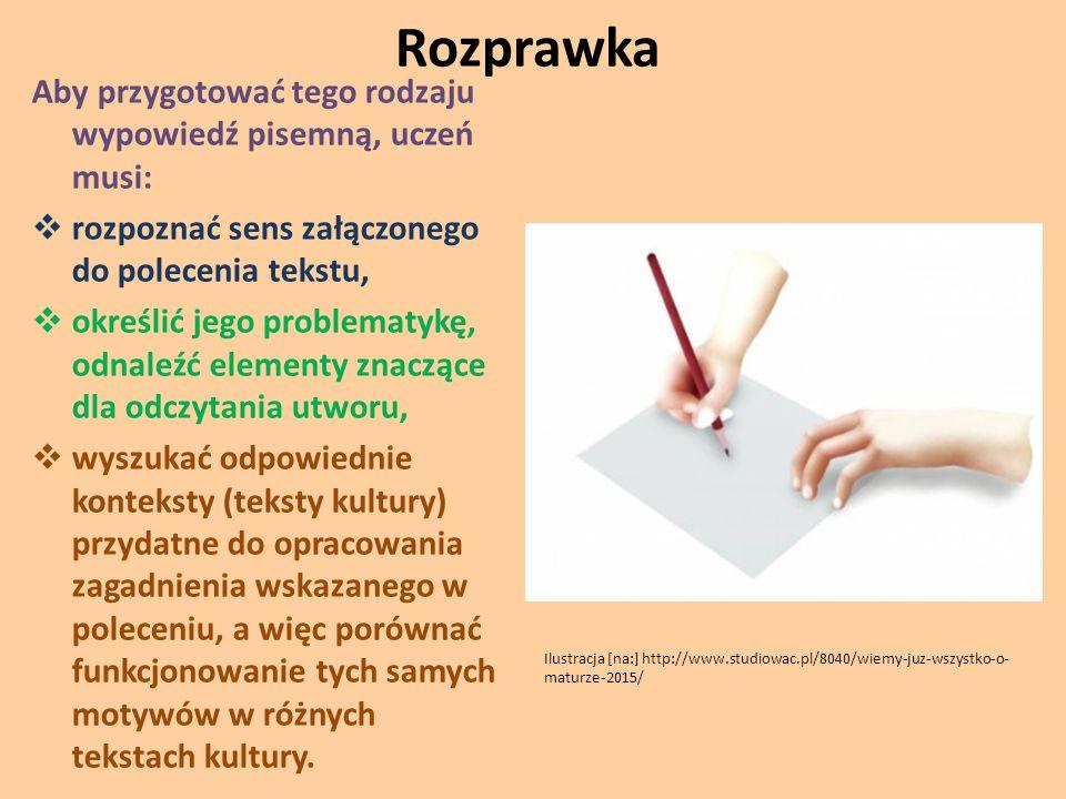 Rozprawka Aby przygotować tego rodzaju wypowiedź pisemną, uczeń musi:  rozpoznać sens załączonego do polecenia tekstu,  określić jego problematykę,