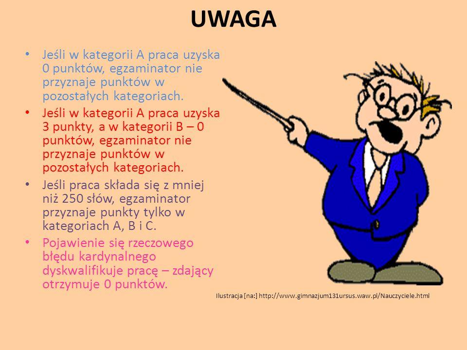UWAGA Jeśli w kategorii A praca uzyska 0 punktów, egzaminator nie przyznaje punktów w pozostałych kategoriach. Jeśli w kategorii A praca uzyska 3 punk