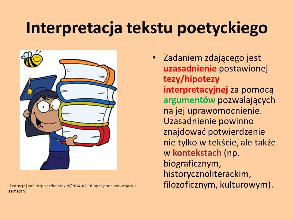 Interpretacja tekstu poetyckiego Zadaniem zdającego jest uzasadnienie postawionej tezy/hipotezy interpretacyjnej za pomocą argumentów pozwalających na