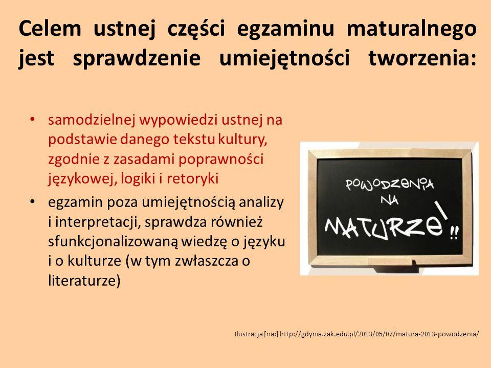 Forma egzaminu ustnego z języka polskiego: Czas trwania – 30 minut Egzamin obowiązkowy (bez podziału na poziomy) Części egzaminu: 1.