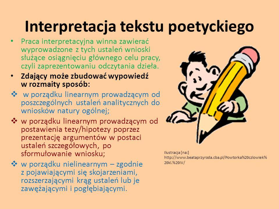 Interpretacja tekstu poetyckiego Praca interpretacyjna winna zawierać wyprowadzone z tych ustaleń wnioski służące osiągnięciu głównego celu pracy, czy