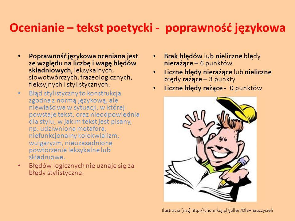 Ocenianie – tekst poetycki - poprawność językowa Poprawność językowa oceniana jest ze względu na liczbę i wagę błędów składniowych, leksykalnych, słow