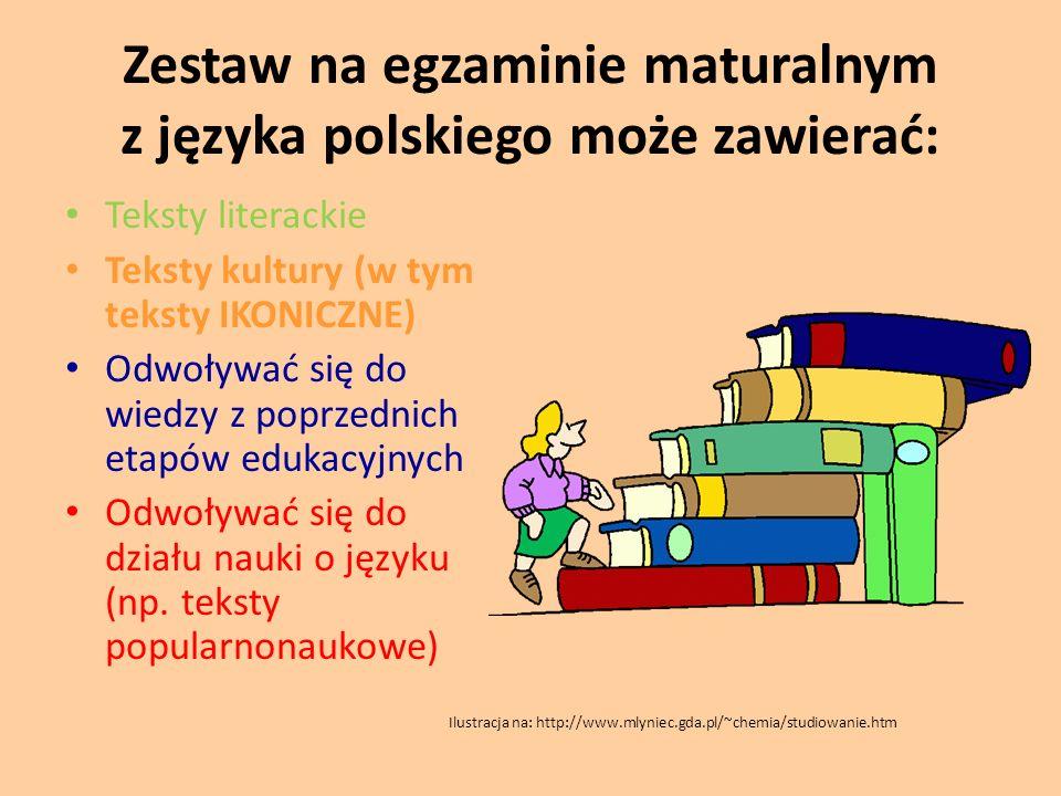 Zestaw na egzaminie maturalnym z języka polskiego może zawierać: Teksty literackie Teksty kultury (w tym teksty IKONICZNE) Odwoływać się do wiedzy z p