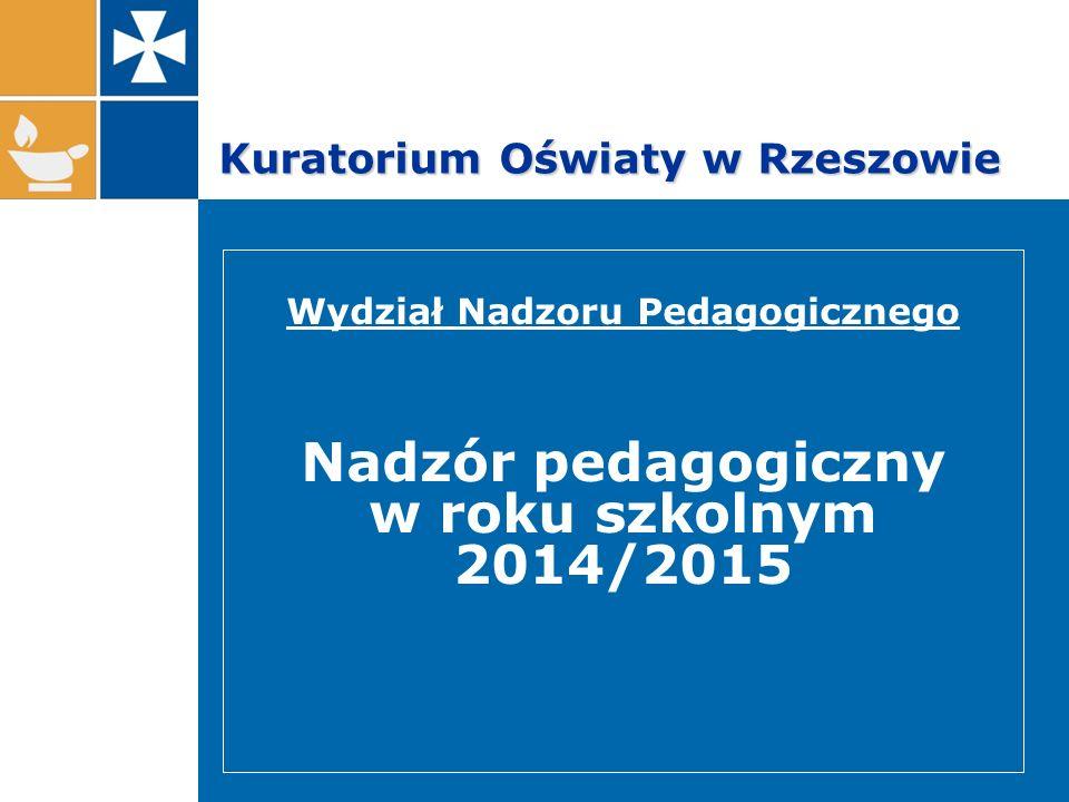 Kuratorium Oświaty w Rzeszowie Wydział Nadzoru Pedagogicznego Nadzór pedagogiczny w roku szkolnym 2014/2015