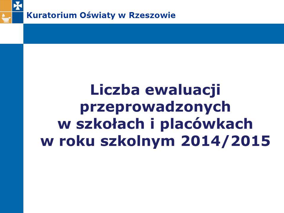 Kuratorium Oświaty w Rzeszowie Liczba ewaluacji przeprowadzonych w szkołach i placówkach w roku szkolnym 2014/2015