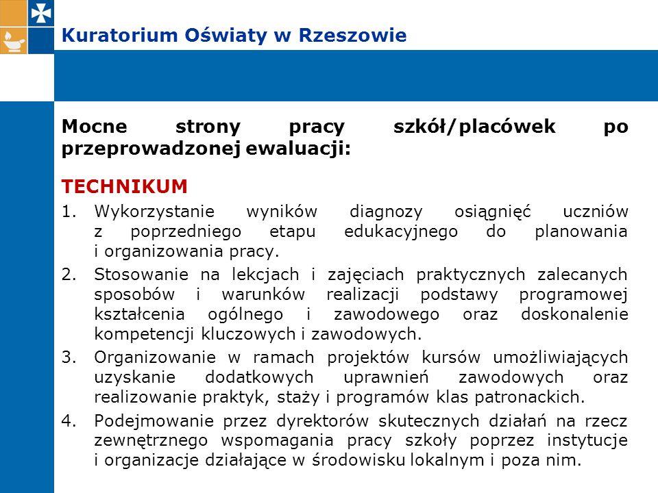Kuratorium Oświaty w Rzeszowie Mocne strony pracy szkół/placówek po przeprowadzonej ewaluacji: TECHNIKUM 1.Wykorzystanie wyników diagnozy osiągnięć uc