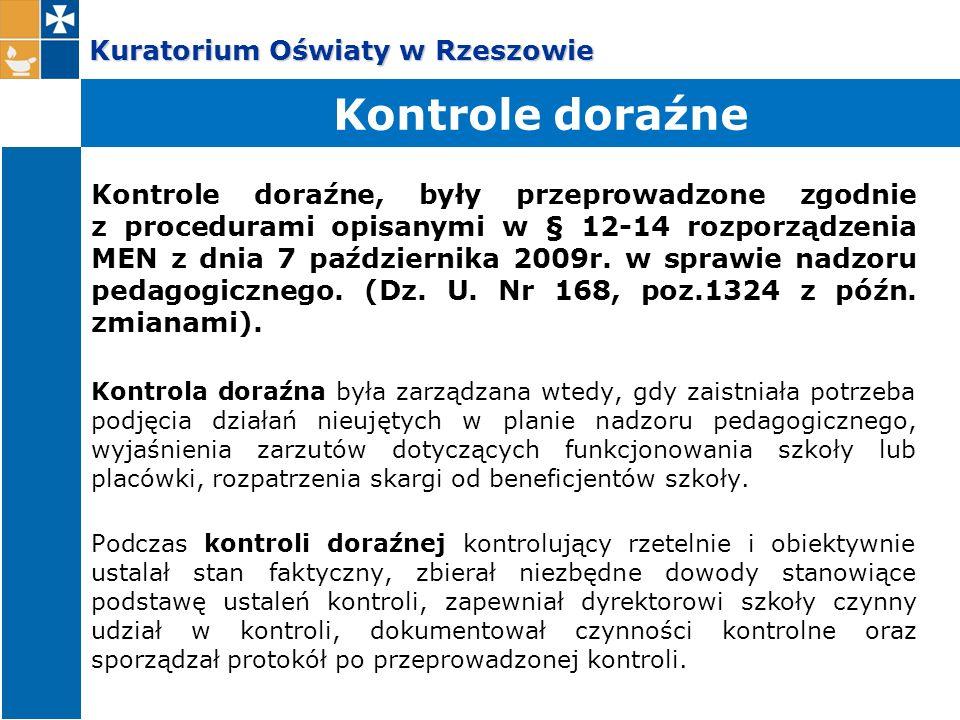 Kuratorium Oświaty w Rzeszowie Kontrole doraźne, były przeprowadzone zgodnie z procedurami opisanymi w § 12-14 rozporządzenia MEN z dnia 7 październik