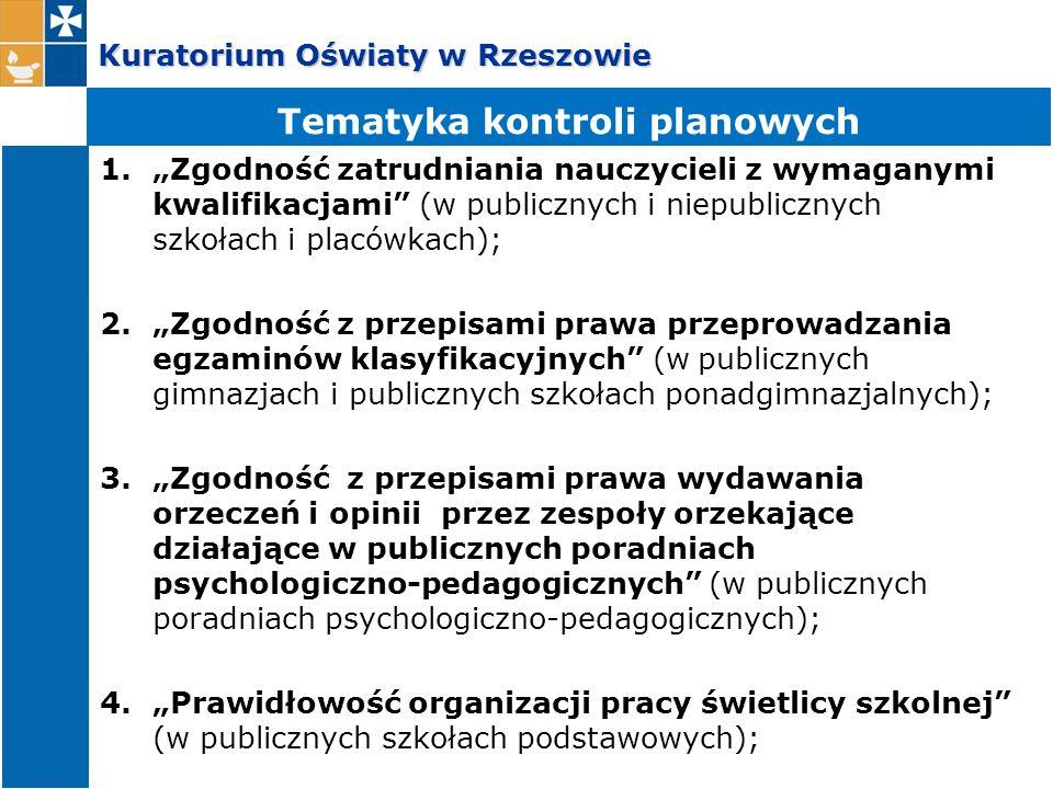 """Kuratorium Oświaty w Rzeszowie 1.""""Zgodność zatrudniania nauczycieli z wymaganymi kwalifikacjami"""" (w publicznych i niepublicznych szkołach i placówkach"""