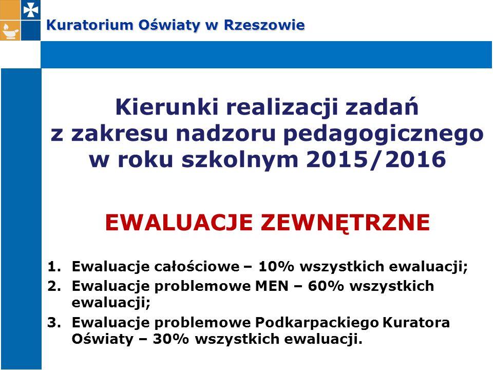 Kuratorium Oświaty w Rzeszowie Kierunki realizacji zadań z zakresu nadzoru pedagogicznego w roku szkolnym 2015/2016 EWALUACJE ZEWNĘTRZNE 1.Ewaluacje c
