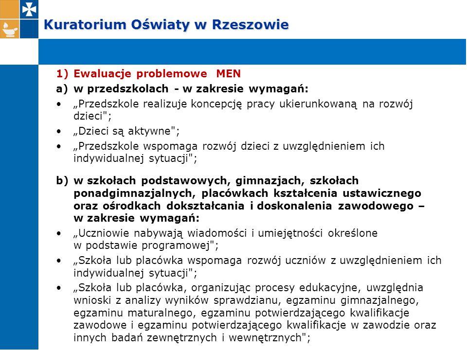 """Kuratorium Oświaty w Rzeszowie 1)Ewaluacje problemowe MEN a)w przedszkolach - w zakresie wymagań: """"Przedszkole realizuje koncepcję pracy ukierunkowaną"""