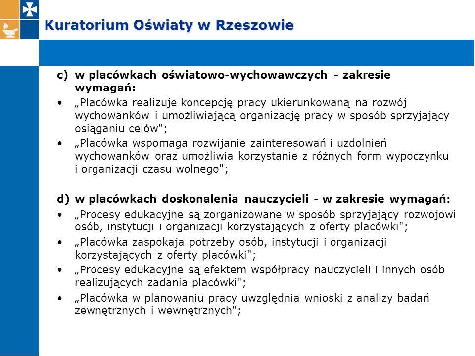 """Kuratorium Oświaty w Rzeszowie c)w placówkach oświatowo-wychowawczych - zakresie wymagań: """"Placówka realizuje koncepcję pracy ukierunkowaną na rozwój"""