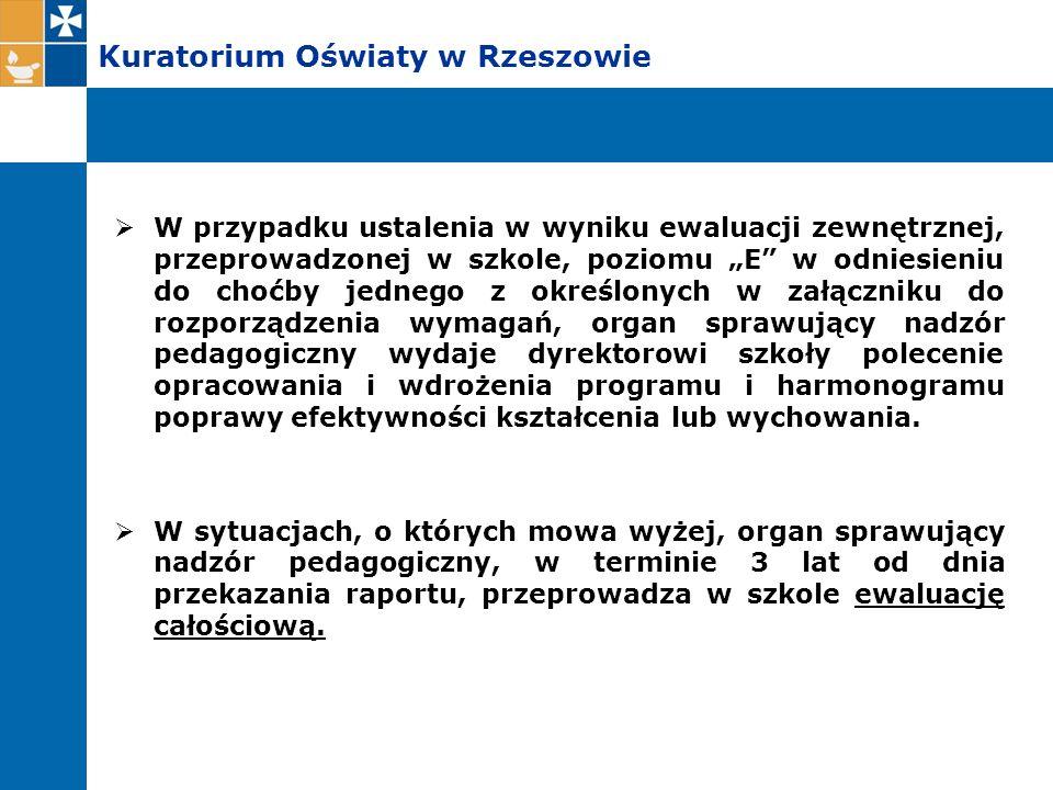 """Kuratorium Oświaty w Rzeszowie  W przypadku ustalenia w wyniku ewaluacji zewnętrznej, przeprowadzonej w szkole, poziomu """"E"""" w odniesieniu do choćby j"""