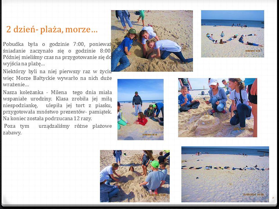 2 dzień- plaża, morze… 0 Pobudka była o godzinie 7:00, poniewa ż ś niadanie zaczynało si ę o godzinie 8:00.