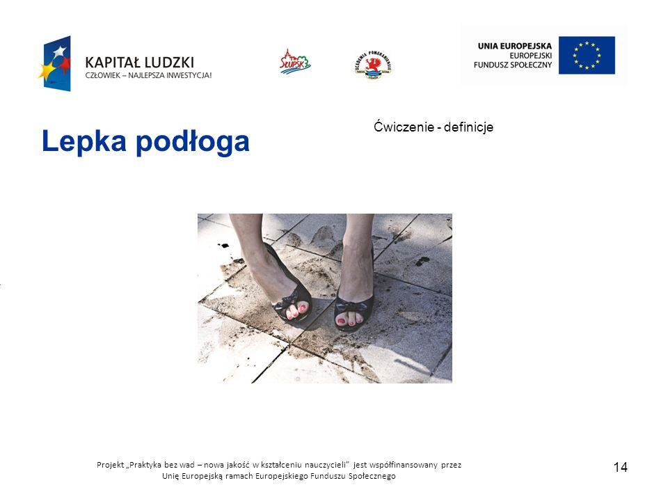 """Projekt """"Praktyka bez wad – nowa jakość w kształceniu nauczycieli jest współfinansowany przez Unię Europejską ramach Europejskiego Funduszu Społecznego 14 Ćwiczenie - definicje Lepka podłoga"""