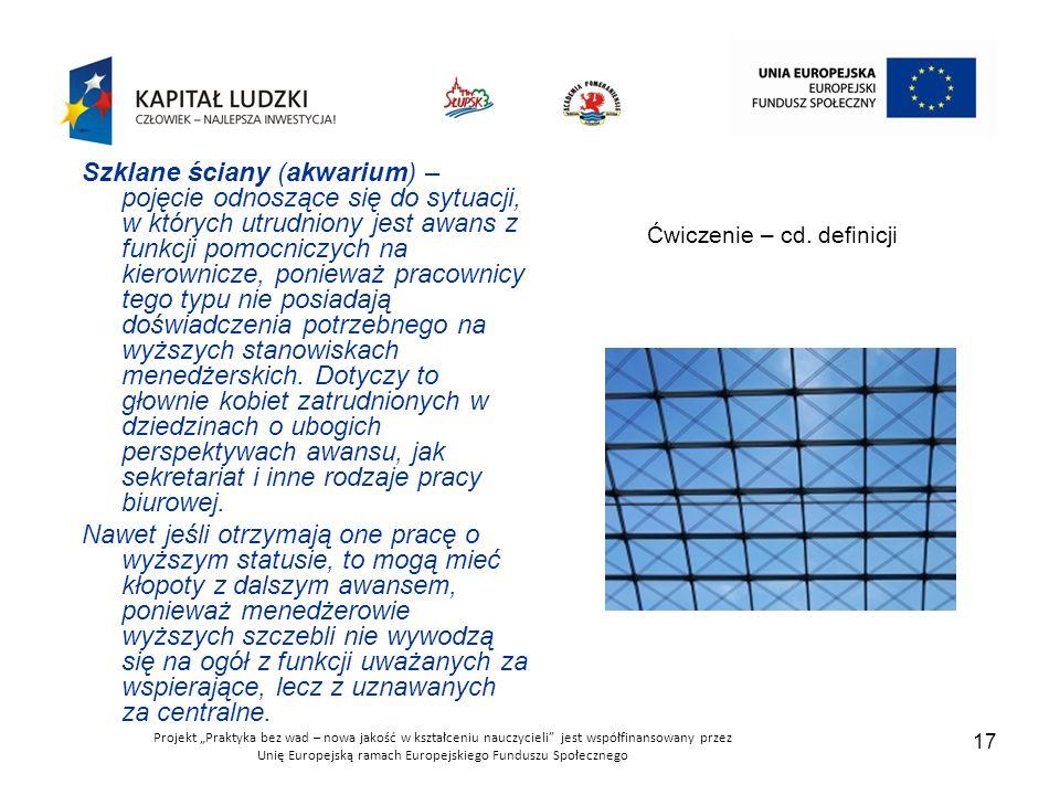 """Projekt """"Praktyka bez wad – nowa jakość w kształceniu nauczycieli jest współfinansowany przez Unię Europejską ramach Europejskiego Funduszu Społecznego 17 Ćwiczenie – cd."""