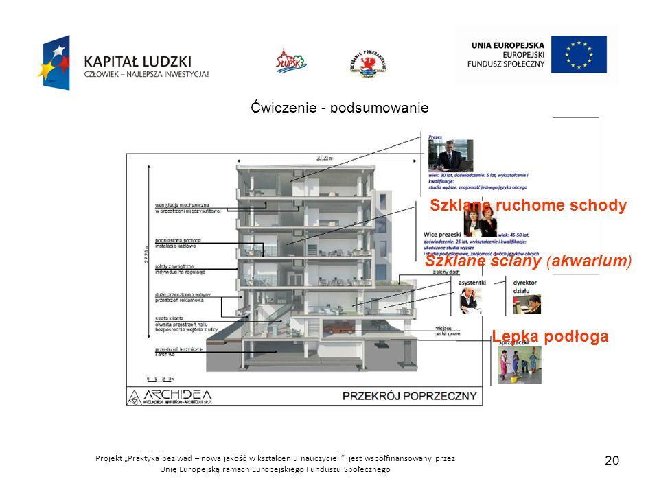 """Projekt """"Praktyka bez wad – nowa jakość w kształceniu nauczycieli jest współfinansowany przez Unię Europejską ramach Europejskiego Funduszu Społecznego 20 Ćwiczenie - podsumowanie Lepka podłoga Szklane ruchome schody Szklane ściany (akwarium)"""