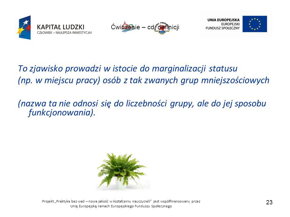 """Projekt """"Praktyka bez wad – nowa jakość w kształceniu nauczycieli jest współfinansowany przez Unię Europejską ramach Europejskiego Funduszu Społecznego 23 Ćwiczenie – cd."""