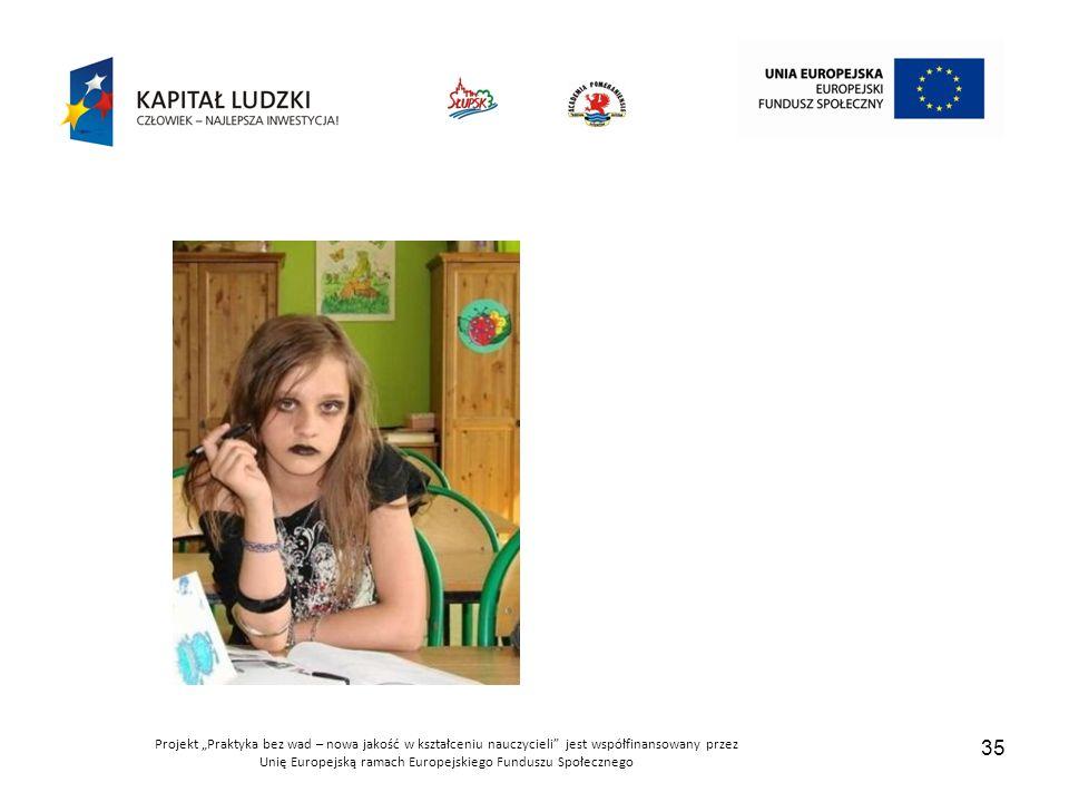 """Projekt """"Praktyka bez wad – nowa jakość w kształceniu nauczycieli jest współfinansowany przez Unię Europejską ramach Europejskiego Funduszu Społecznego 35"""