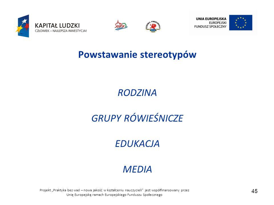 """Projekt """"Praktyka bez wad – nowa jakość w kształceniu nauczycieli jest współfinansowany przez Unię Europejską ramach Europejskiego Funduszu Społecznego 45 Powstawanie stereotypów RODZINA GRUPY RÓWIEŚNICZE EDUKACJA MEDIA"""