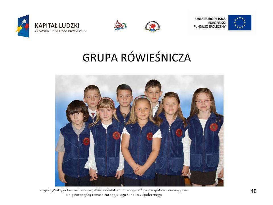 """Projekt """"Praktyka bez wad – nowa jakość w kształceniu nauczycieli jest współfinansowany przez Unię Europejską ramach Europejskiego Funduszu Społecznego 48 GRUPA RÓWIEŚNICZA"""
