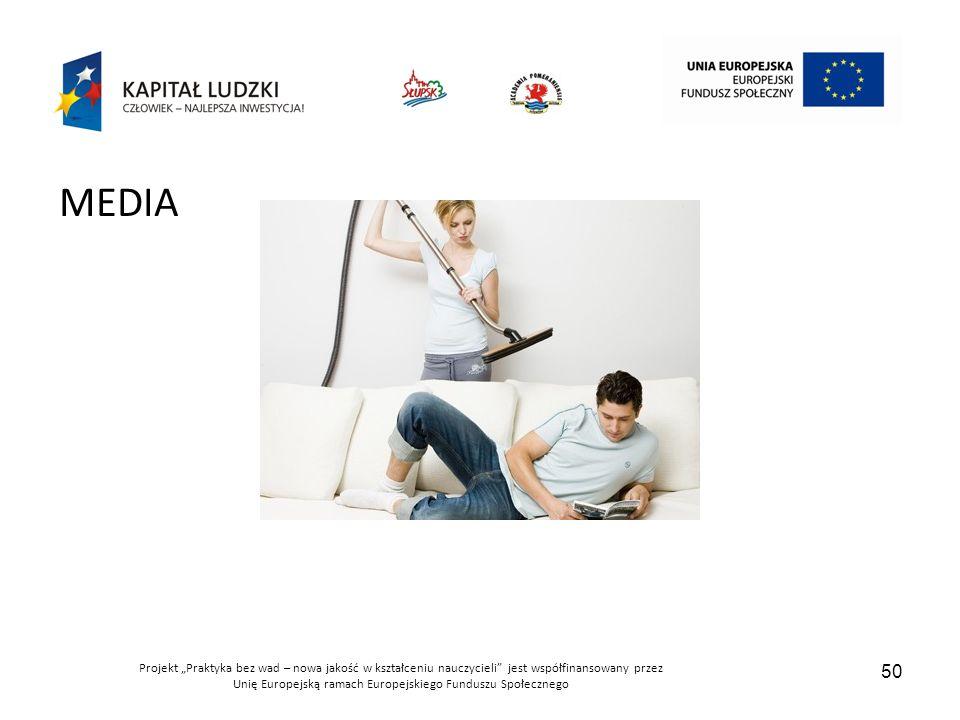 """Projekt """"Praktyka bez wad – nowa jakość w kształceniu nauczycieli jest współfinansowany przez Unię Europejską ramach Europejskiego Funduszu Społecznego 50 MEDIA"""