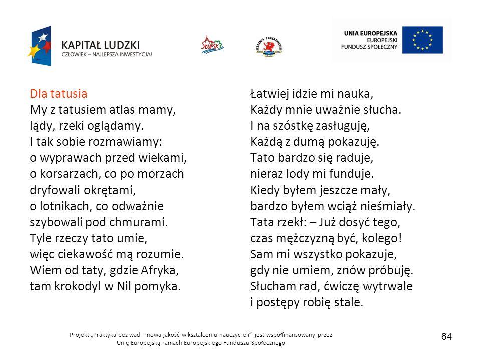 """Projekt """"Praktyka bez wad – nowa jakość w kształceniu nauczycieli jest współfinansowany przez Unię Europejską ramach Europejskiego Funduszu Społecznego 64 Dla tatusia My z tatusiem atlas mamy, lądy, rzeki oglądamy."""
