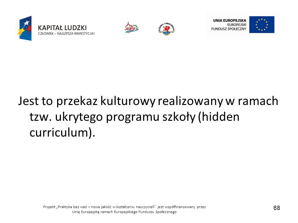 """Projekt """"Praktyka bez wad – nowa jakość w kształceniu nauczycieli jest współfinansowany przez Unię Europejską ramach Europejskiego Funduszu Społecznego 68 Jest to przekaz kulturowy realizowany w ramach tzw."""