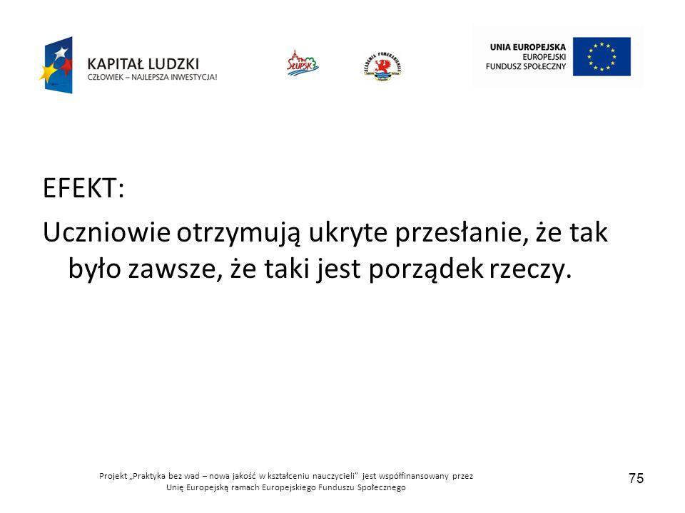 """Projekt """"Praktyka bez wad – nowa jakość w kształceniu nauczycieli jest współfinansowany przez Unię Europejską ramach Europejskiego Funduszu Społecznego 75 EFEKT: Uczniowie otrzymują ukryte przesłanie, że tak było zawsze, że taki jest porządek rzeczy."""
