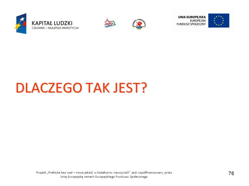 """Projekt """"Praktyka bez wad – nowa jakość w kształceniu nauczycieli jest współfinansowany przez Unię Europejską ramach Europejskiego Funduszu Społecznego 76 DLACZEGO TAK JEST?"""