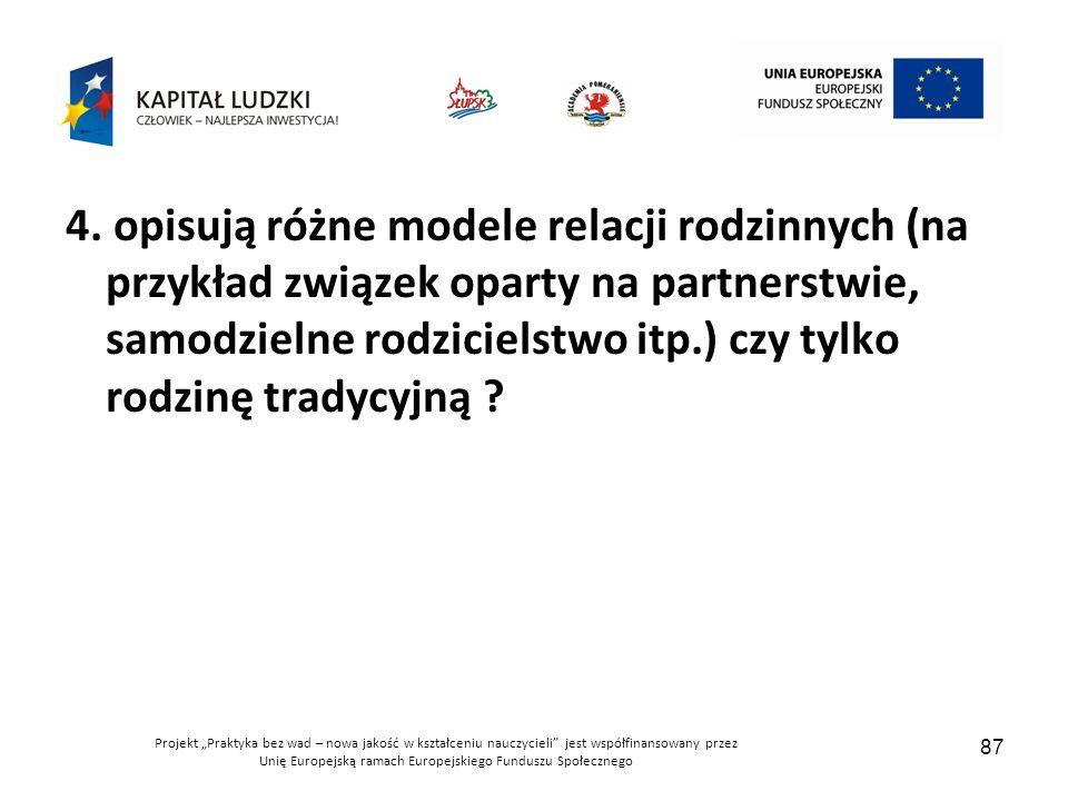 """Projekt """"Praktyka bez wad – nowa jakość w kształceniu nauczycieli jest współfinansowany przez Unię Europejską ramach Europejskiego Funduszu Społecznego 87 4."""