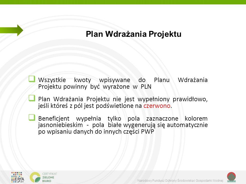 Narodowy Fundusz Ochrony Środowiska i Gospodarki Wodnej  Wszystkie kwoty wpisywane do Planu Wdrażania Projektu powinny być wyrażone w PLN  Plan Wdrażania Projektu nie jest wypełniony prawidłowo, jeśli któreś z pól jest podświetlone na czerwono.