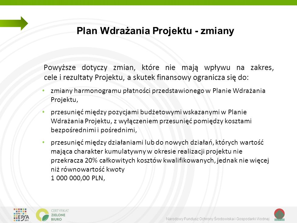 Narodowy Fundusz Ochrony Środowiska i Gospodarki Wodnej Plan Wdrażania Projektu - zmiany Powyższe dotyczy zmian, które nie mają wpływu na zakres, cele