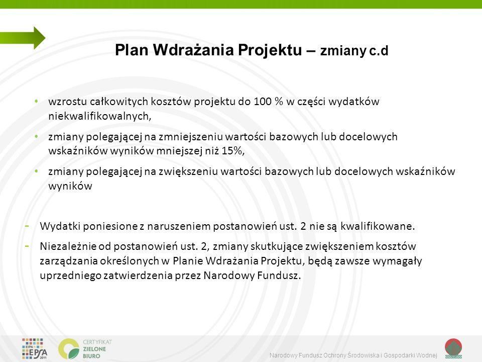 Narodowy Fundusz Ochrony Środowiska i Gospodarki Wodnej Plan Wdrażania Projektu – zmiany c.d wzrostu całkowitych kosztów projektu do 100 % w części wy