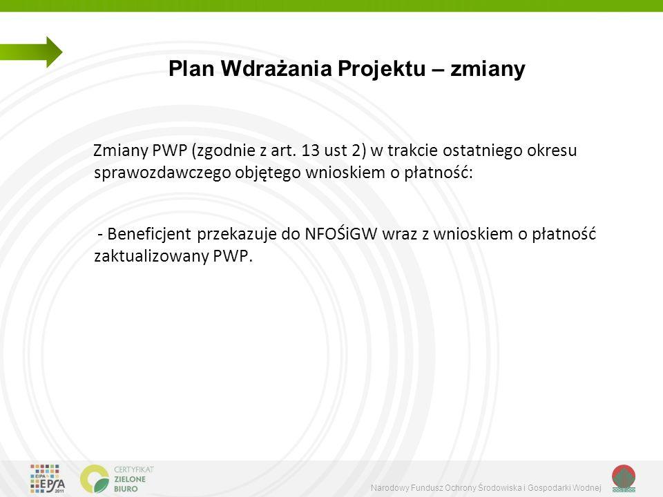 Narodowy Fundusz Ochrony Środowiska i Gospodarki Wodnej Plan Wdrażania Projektu – zmiany Zmiany PWP (zgodnie z art. 13 ust 2) w trakcie ostatniego okr
