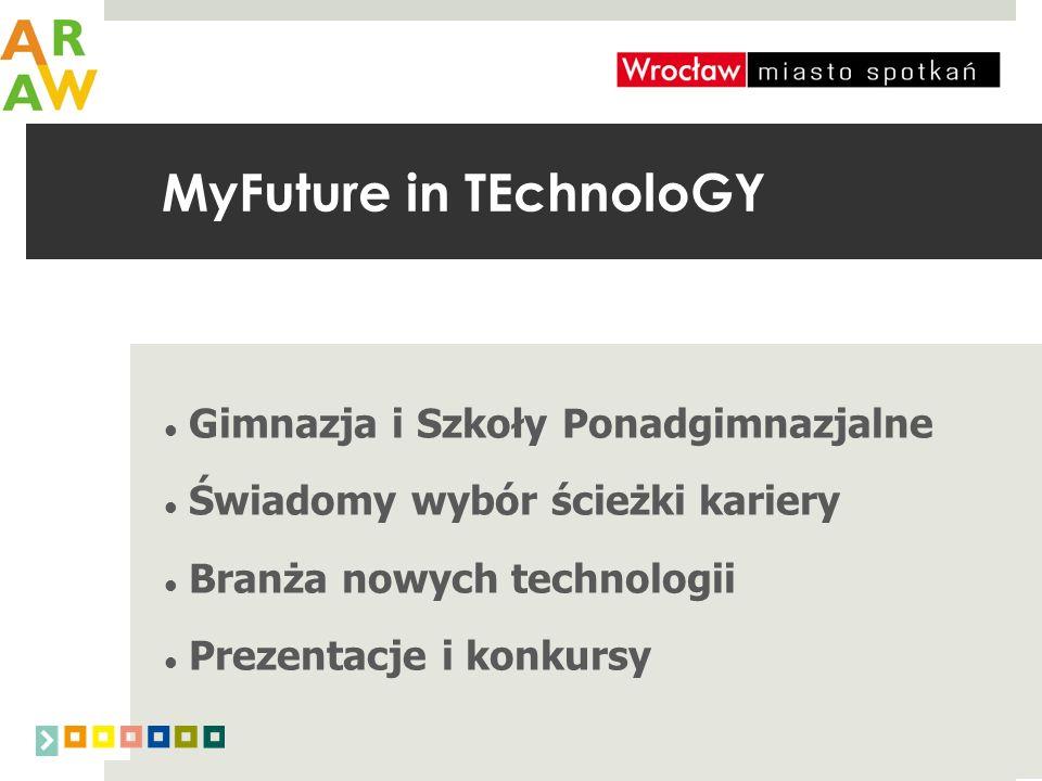 MyFuture in TEchnoloGY Gimnazja i Szkoły Ponadgimnazjalne Świadomy wybór ścieżki kariery Branża nowych technologii Prezentacje i konkursy