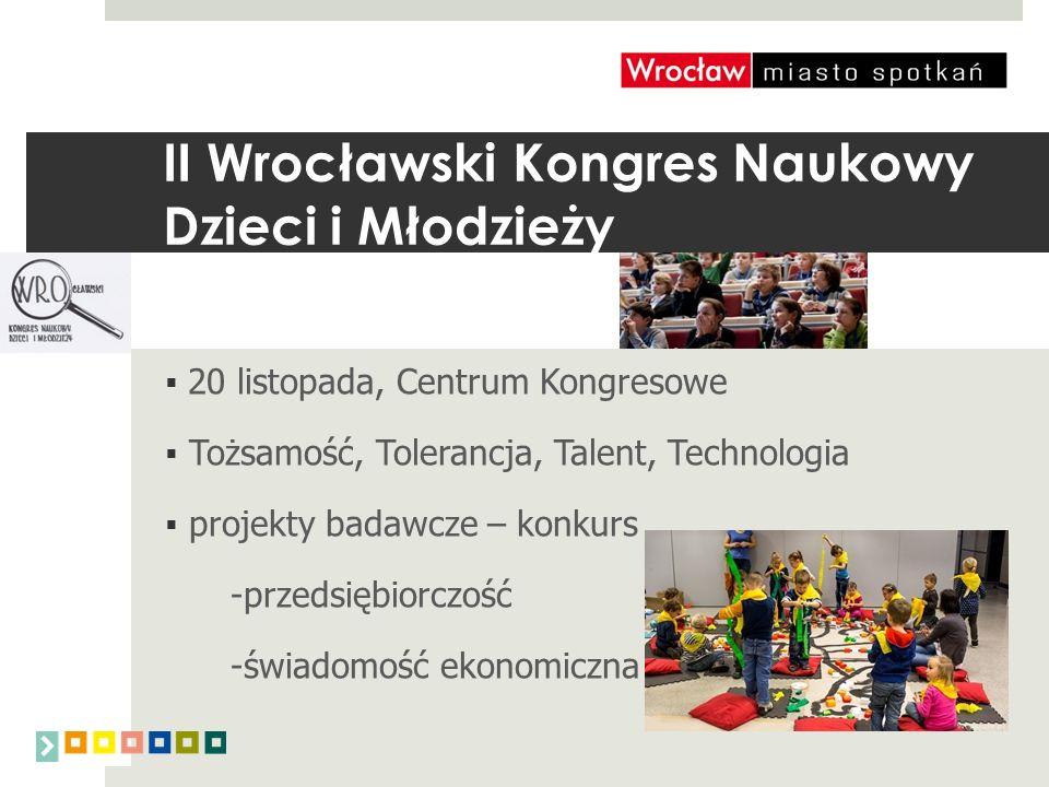 II Wrocławski Kongres Naukowy Dzieci i Młodzieży  20 listopada, Centrum Kongresowe  Tożsamość, Tolerancja, Talent, Technologia  projekty badawcze – konkurs -przedsiębiorczość -świadomość ekonomiczna