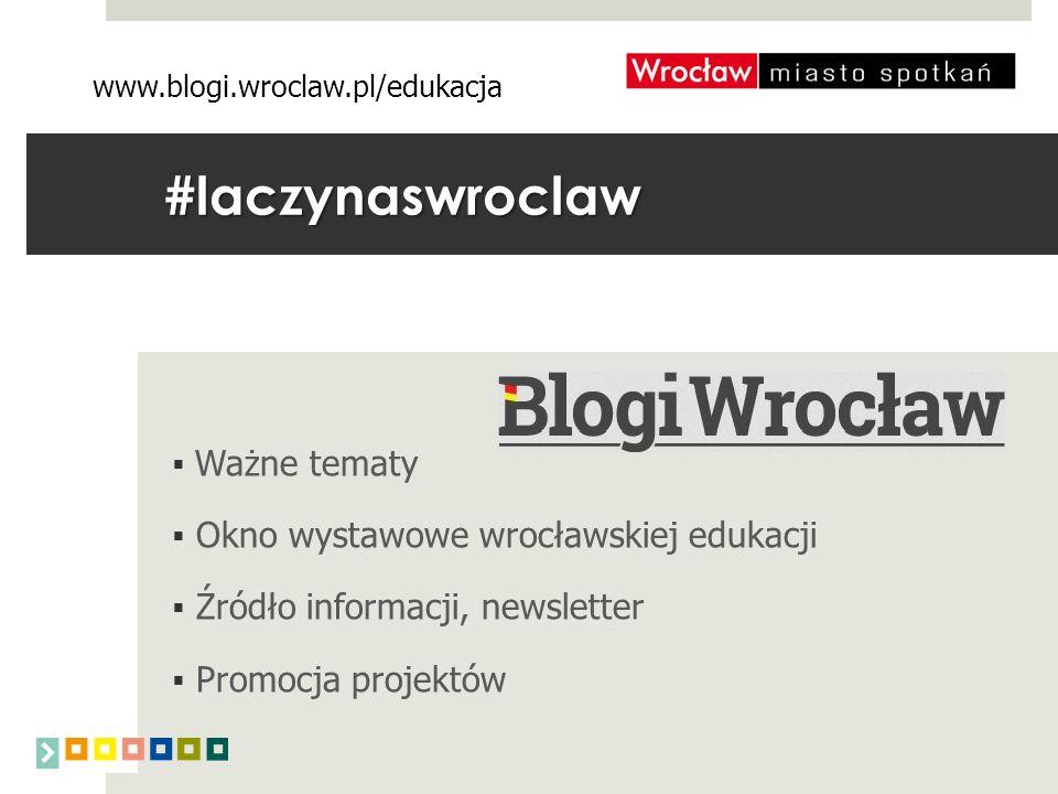 #laczynaswroclaw  Ważne tematy  Okno wystawowe wrocławskiej edukacji  Źródło informacji, newsletter  Promocja projektów www.blogi.wroclaw.pl/edukacja