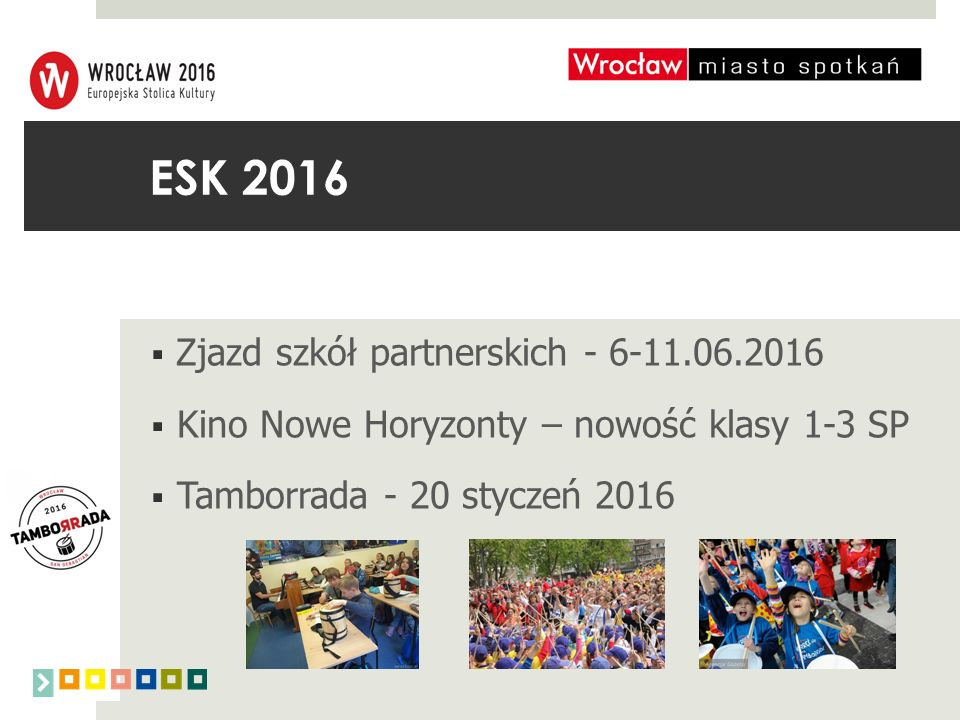 ESK 2016  Zjazd szkół partnerskich - 6-11.06.2016  Kino Nowe Horyzonty – nowość klasy 1-3 SP  Tamborrada - 20 styczeń 2016