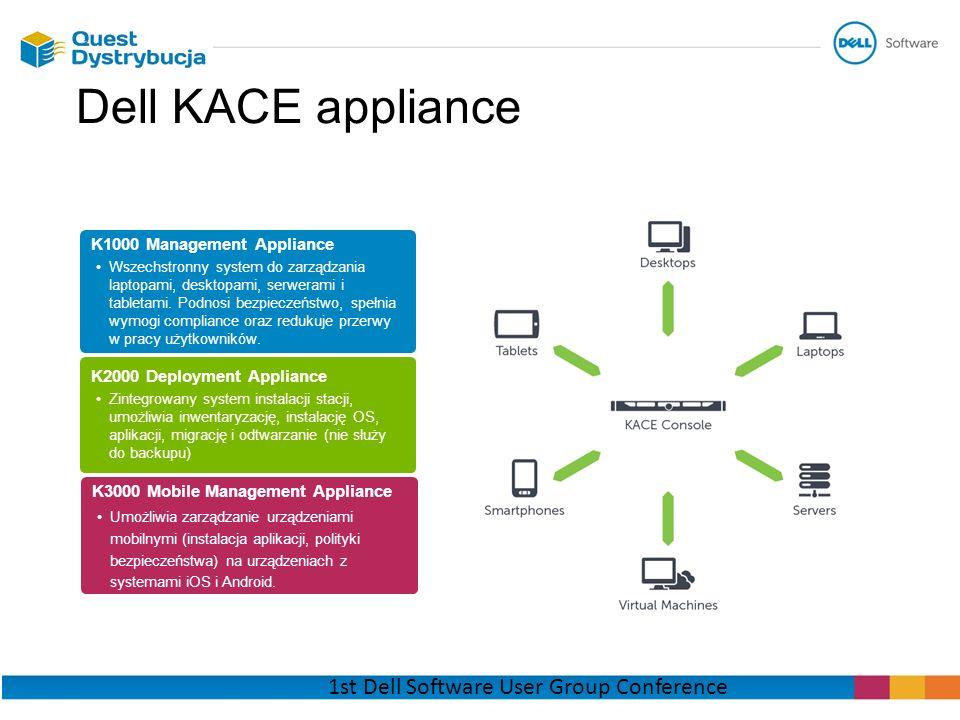 Dell KACE appliance K1000 Management Appliance Wszechstronny system do zarządzania laptopami, desktopami, serwerami i tabletami. Podnosi bezpieczeństw
