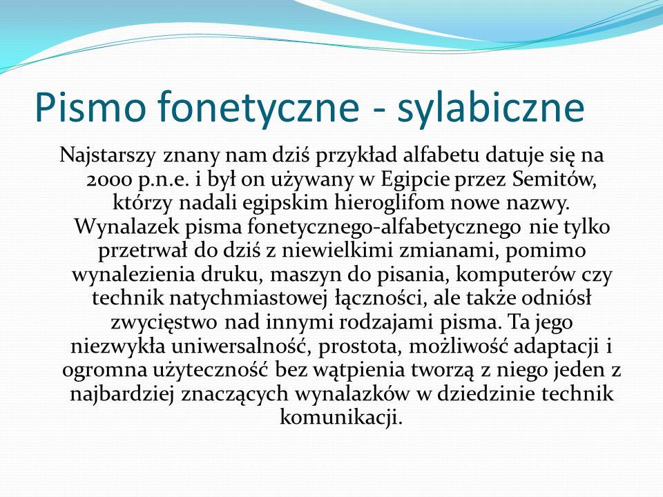 Pismo fonetyczne - sylabiczne Najstarszy znany nam dziś przykład alfabetu datuje się na 2000 p.n.e. i był on używany w Egipcie przez Semitów, którzy n