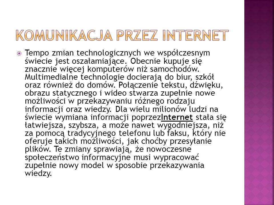 Komunikatory internetowe powalają:  – prowadzić pogawędki na żywo,  – wysyłać krótkie wiadomości,  – śledzić obecność rozmówców w sieci.
