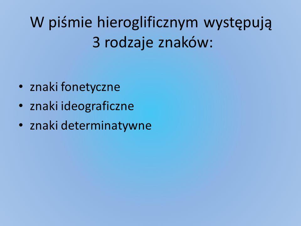 W piśmie hieroglificznym występują 3 rodzaje znaków: znaki fonetyczne znaki ideograficzne znaki determinatywne